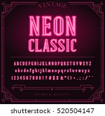 bright neon alphabet letters ... | Shutterstock .eps vector #520504147