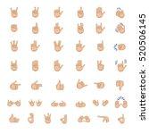 set of hand emoticon vector... | Shutterstock .eps vector #520506145