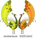 peacock artistic hand drawn... | Shutterstock .eps vector #520511641