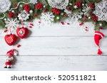 christmas wooden background... | Shutterstock . vector #520511821
