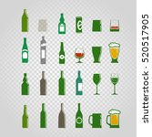 different bottles and glasses... | Shutterstock .eps vector #520517905
