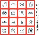 set of 16 celebration icons.... | Shutterstock .eps vector #520519135