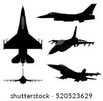 set of military jet fighter... | Shutterstock .eps vector #520523629