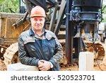 construction worker in front of ... | Shutterstock . vector #520523701