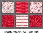 valentine day hearts patterns... | Shutterstock .eps vector #520535605