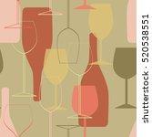 white wine glasses and bottles... | Shutterstock .eps vector #520538551