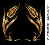 ottoman tulip golden motif.   Shutterstock .eps vector #520538794
