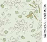seamless pattern olive bunch.... | Shutterstock .eps vector #520545055