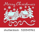 merry christmas card. contour... | Shutterstock .eps vector #520545961