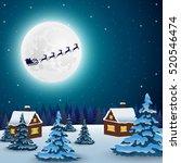 night christmas forest... | Shutterstock .eps vector #520546474