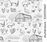farm animals seamless pattern ... | Shutterstock .eps vector #520555465