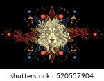 lion and carps tattoo art ... | Shutterstock .eps vector #520557904