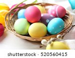 Easter Eggs With Tulips On A...