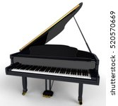 Small photo of Black Grand Piano - This is an image of a black Piano. The object was taken in front of a white background.
