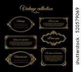 golden calligraphic vignettes...   Shutterstock .eps vector #520579069