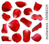 Red Rose Petals Set  Isolated...
