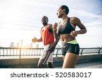 couple running in new york  ...   Shutterstock . vector #520583017