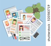 staff resume with glasses at... | Shutterstock .eps vector #520583719