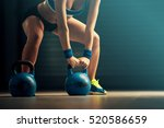 fitness woman training by... | Shutterstock . vector #520586659