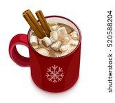 hot chocolate. decorative... | Shutterstock .eps vector #520588204