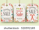 christmas sale tags in retro... | Shutterstock .eps vector #520592185