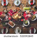 christmas family dinner table... | Shutterstock . vector #520592845