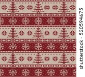 knitted christmas pattern ... | Shutterstock . vector #520594675