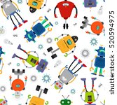 robot pattern with cute... | Shutterstock .eps vector #520594975
