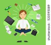 businesswoman in meditating... | Shutterstock .eps vector #520595089
