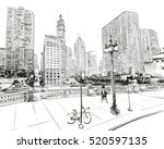 chicago city hand drawn. street ... | Shutterstock .eps vector #520597135