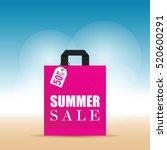 summer sale on pink bag... | Shutterstock .eps vector #520600291