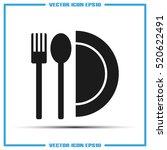 fork  spoon  plate icon vector... | Shutterstock .eps vector #520622491