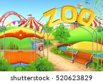 zoo  vector background.... | Shutterstock .eps vector #520623829
