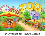 zoo. kids playground. amusement ... | Shutterstock .eps vector #520623835