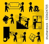home moving workers symbols | Shutterstock .eps vector #520624705