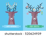 christmas and hanukkah holiday... | Shutterstock .eps vector #520624939