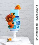 amazing wedding cake with... | Shutterstock . vector #520630645