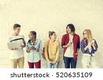 diversity students friends... | Shutterstock . vector #520635109