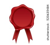 red wax seal isolated on white... | Shutterstock .eps vector #520635484