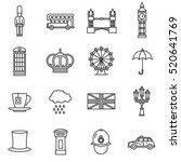London Icons Set. England  Thi...