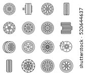 tires and wheels icons set. the ... | Shutterstock .eps vector #520644637