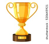 gold trophy cup icon. isometric ... | Shutterstock .eps vector #520645921