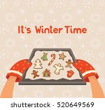 baking tray with christmas...   Shutterstock .eps vector #520649569