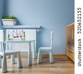 blue baby room with small table ... | Shutterstock . vector #520652155