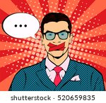man with taped mouth pop art... | Shutterstock .eps vector #520659835