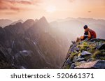 young tourist  hiker with... | Shutterstock . vector #520661371