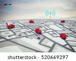 3d rendering gps route | Shutterstock . vector #520669297