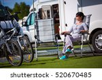 caravan car vacation. family... | Shutterstock . vector #520670485