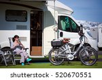 caravan car vacation. family... | Shutterstock . vector #520670551