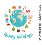 merry christmas and happy... | Shutterstock .eps vector #520674109